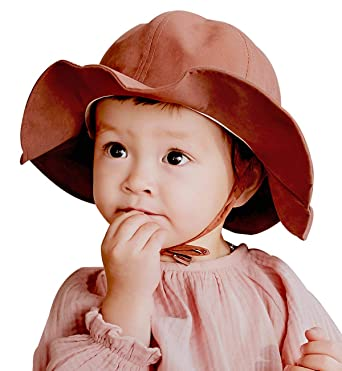 Superora Sun Hat for Toddler Baby Girls Bucket Cap Cotton Blend Adjustable Elastic Drawstring Wide Brim