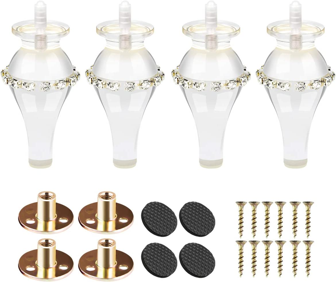 """6 inch Acrylic Furniture Legs, Btowin 4Pcs Clear Glass Spindle Turned Bun Feet with Rhinestone & Threaded 5/16"""" M8 Hanger Bolts & Mounting Plate & Screws for Sofa Cabinet Recliner TV Stand Couch"""