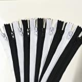 WKXFJJWZC 50pcs Black & White Nylon Coil Zippers Tailor Sewer Craft Crafter's &FGDQRS (12 Inches)