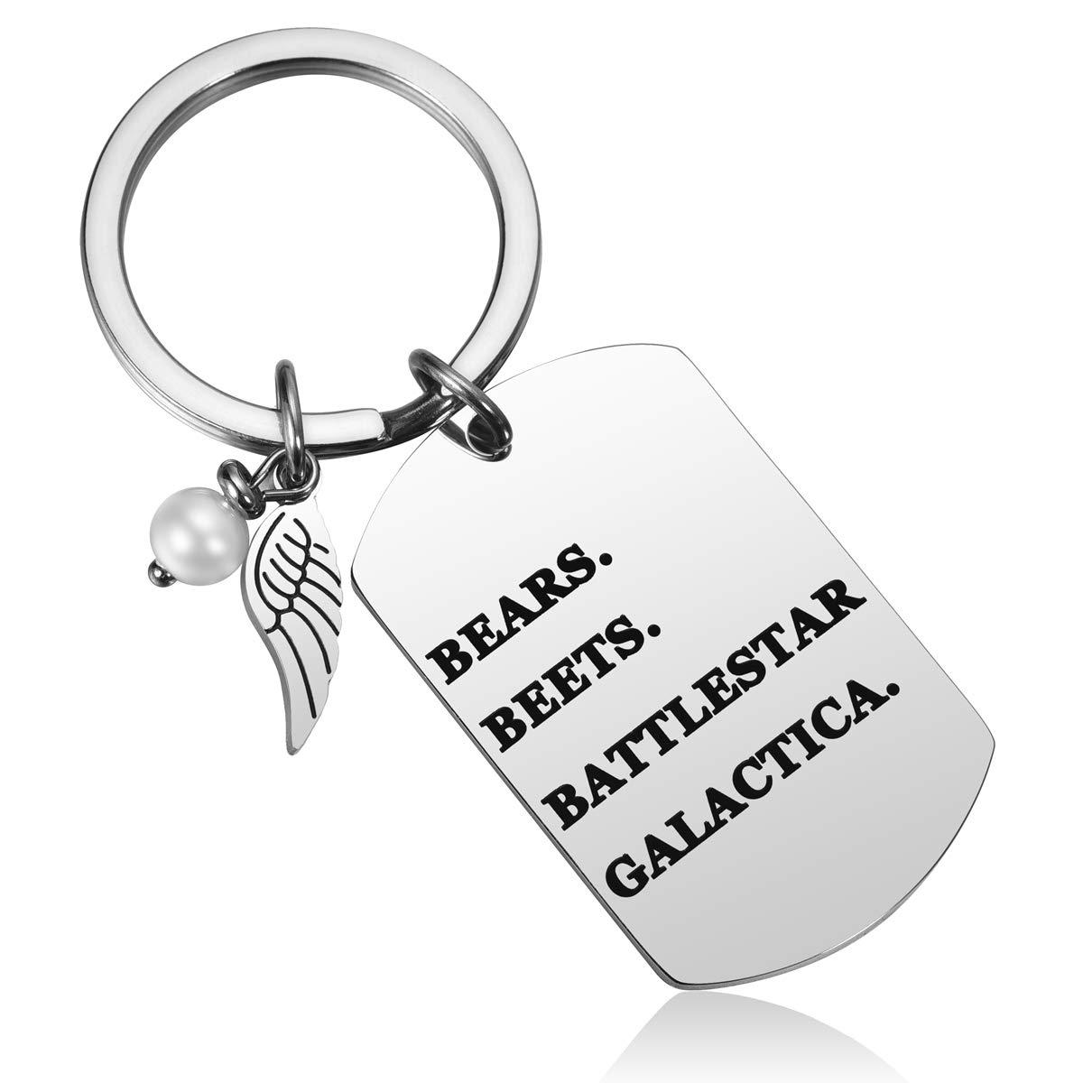 JZSTA Bears Beets Battlestar Galactica Jim Dwight Schrute The Office キーホルダー Dunder Mifflin   B07N76MHS2