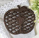 """Apple"" Decorative Cast Iron Trivet Rust Brown For Kitchen Or Dining Table 