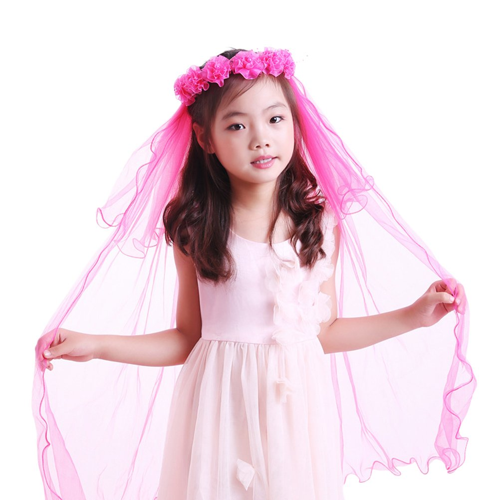 Eliffete Handmade Flowers Girls 2 Tiers First Communion Veil Floral Wreath Veils ETTSA04-Pink