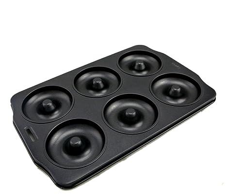 Molde de Horno para Donuts Grande Rosquillas Buñuelos de 6 Cavidades para Familia Acero de Carbono