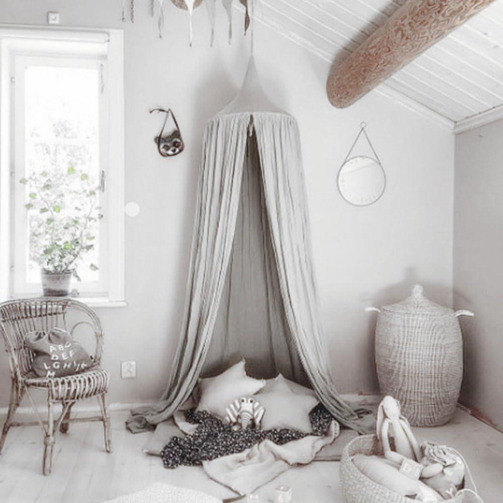 Ciel de lit Moustiquaire en coton pour petite Princesse anti-moustique Berceau D/ôme ch/âteau Tente de jeu en Suspension D/écoration De Maison Hauteur de 240cm//94.9 pouces