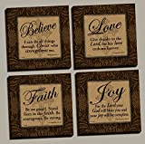 Believe Love Faith Joy Signs, Inspirational Art Print Poster by Todd Williams; Four 12x12in Stretched canvases; Ready to hang!