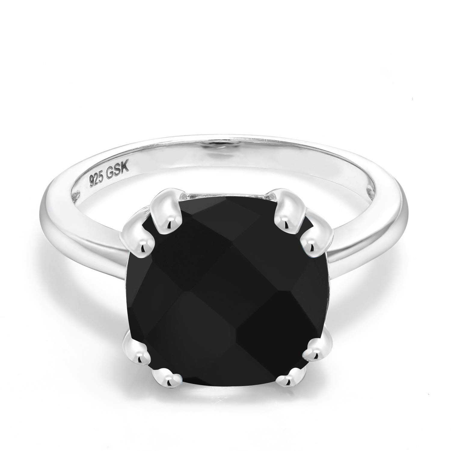 3.60 Cttw Cushion Checkerboard Gemstone Birthstone Available in size 5, 6, 7, 8, 9 Gem Stone King Black Onyx 925 Sterling Silver Womens Ring