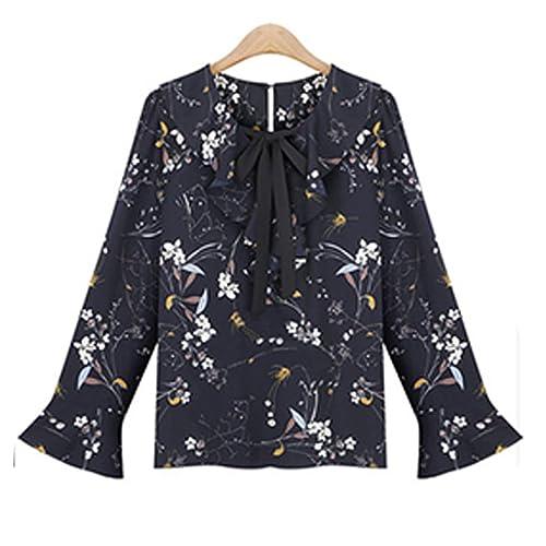 Haroty Las Mujeres Blusas Floral Camisetas Imprimen Manga Larga con Volantes Cuello en V Suelto Rect...