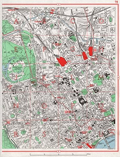 LONDON WEST END. Camden Bloomsbury Fitzrovia Marylebone Soho Mayfair - 1964 - old map - antique map - vintage map - London - Mayfair Map London