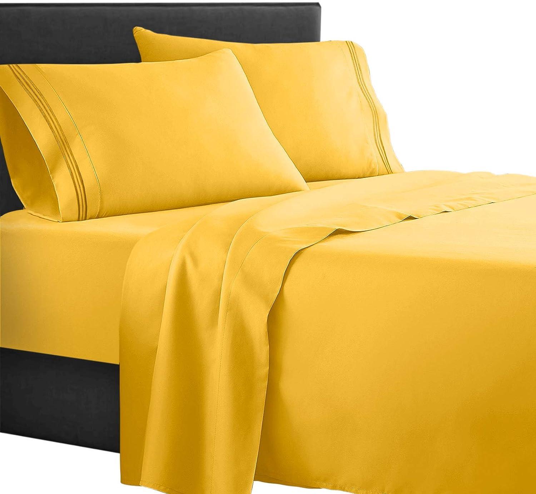 Clara Clark Supreme 1500 Yellow Bed Sheet