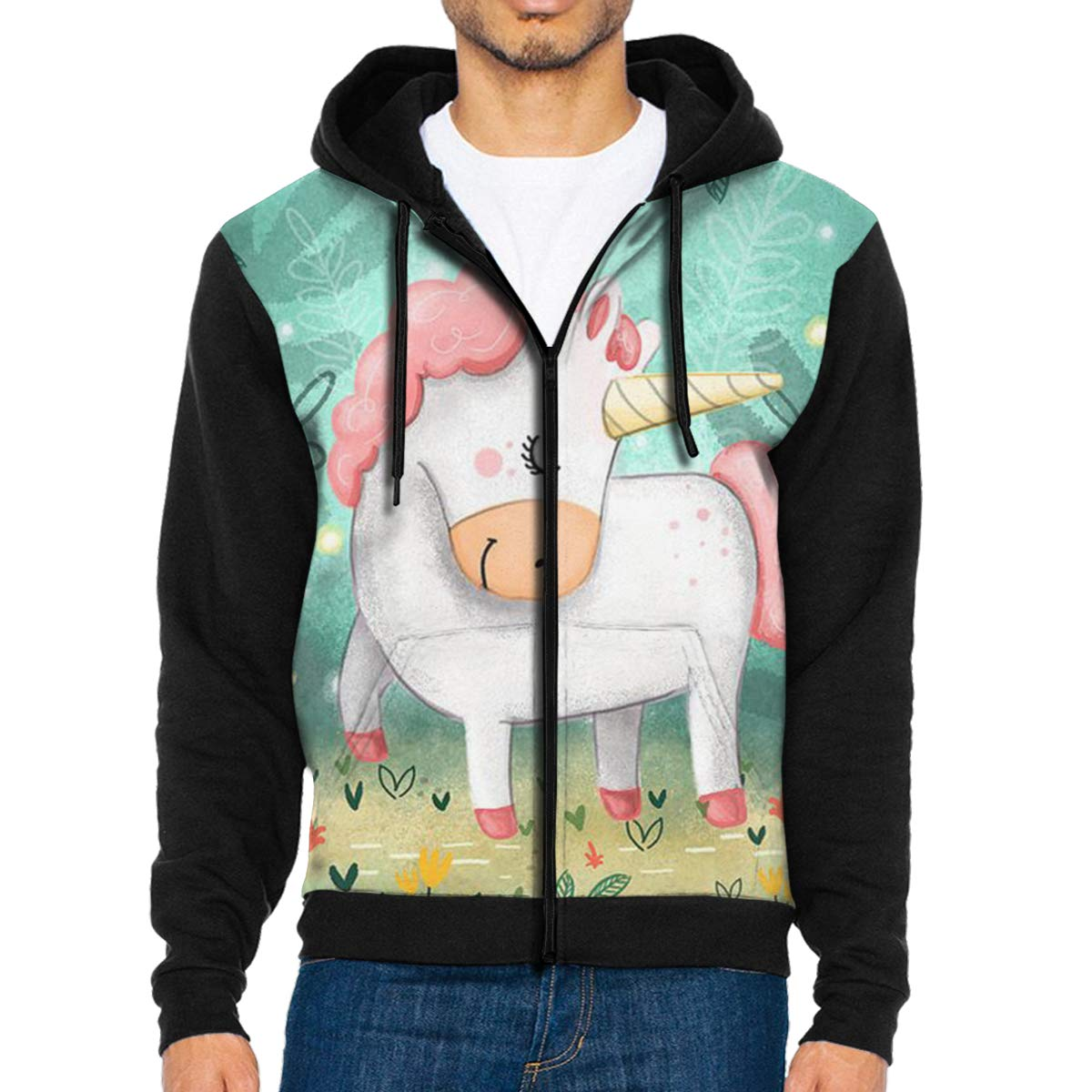 Mens Pullover Hood Cute Unicorn Zip Hoodies Hooded Casual Jackets Coats