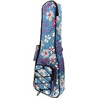 F Fityle 26inch Ukulele Uke Bag Backpack Waterproof Musical Instrument Accessory - Blue Flower