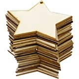 RICISUNG 10-Piece Christmas Ornaments Wooden Christmas Shapes Blank Decoration for Trees