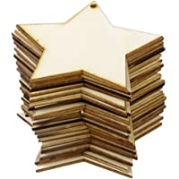 Phenovo 25pcs Adornos Madera Forma Estrella para Arte