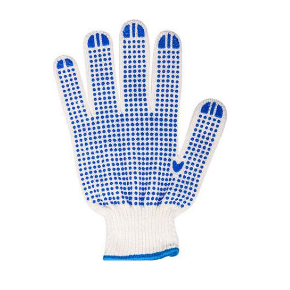KYCD Gloves Guanti di assicurazione sul Lavoro Spessi Filati di Cotone Guanti Antiscivolo Resistenti all'Usura Cantiere Guanti da Lavoro Linea Bianca (Un Pacchetto di 24 Paia)