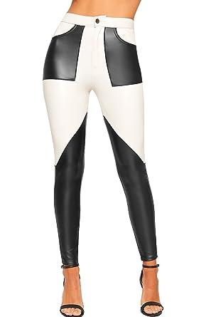 7890eadcdcd3b WearAll Women's Contrast Colour Block Panel Faux Leather Trousers Pants  Skinny Leg - Cream - US