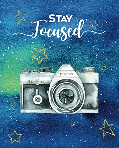 Stay Focused: Notebook with Quote, Watercolor Galaxy Design Cover, 160 Page Softcover Yoga Journal, College Ruled Composition Notebook, 8