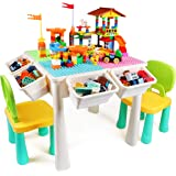 KIDCHEER 7-in-1 Kids Multi Activity Table & 2 Chairs Set, Building Blocks Toy Compatible Storage Table for Toddlers Learning