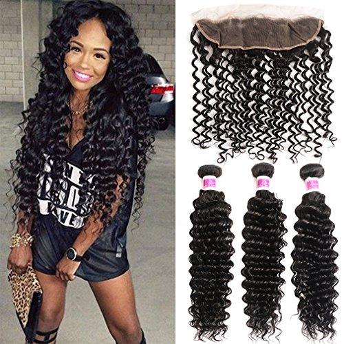 JISHENG Deep Wave 3 Bundles with Frontal Ear to Ear Lace Closure Unprocessed Brazilian Curly Virgin Human Hair with Lace Frontal Closure 14 16 18 and 12inch