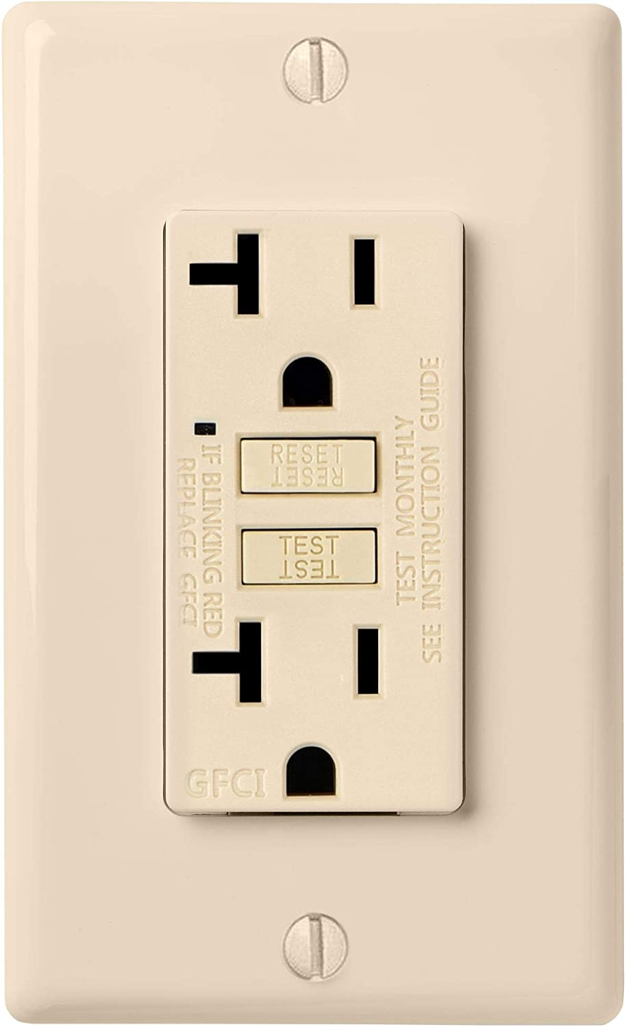 Faith 20A GFCI Outlet Slim, Non-Tamper-Resistant GFI Duplex Receptacles with LED Indicator, Self-Test Ground Fault Circuit Interrupter with Wall Plate, ETL Listed, Ivory - -