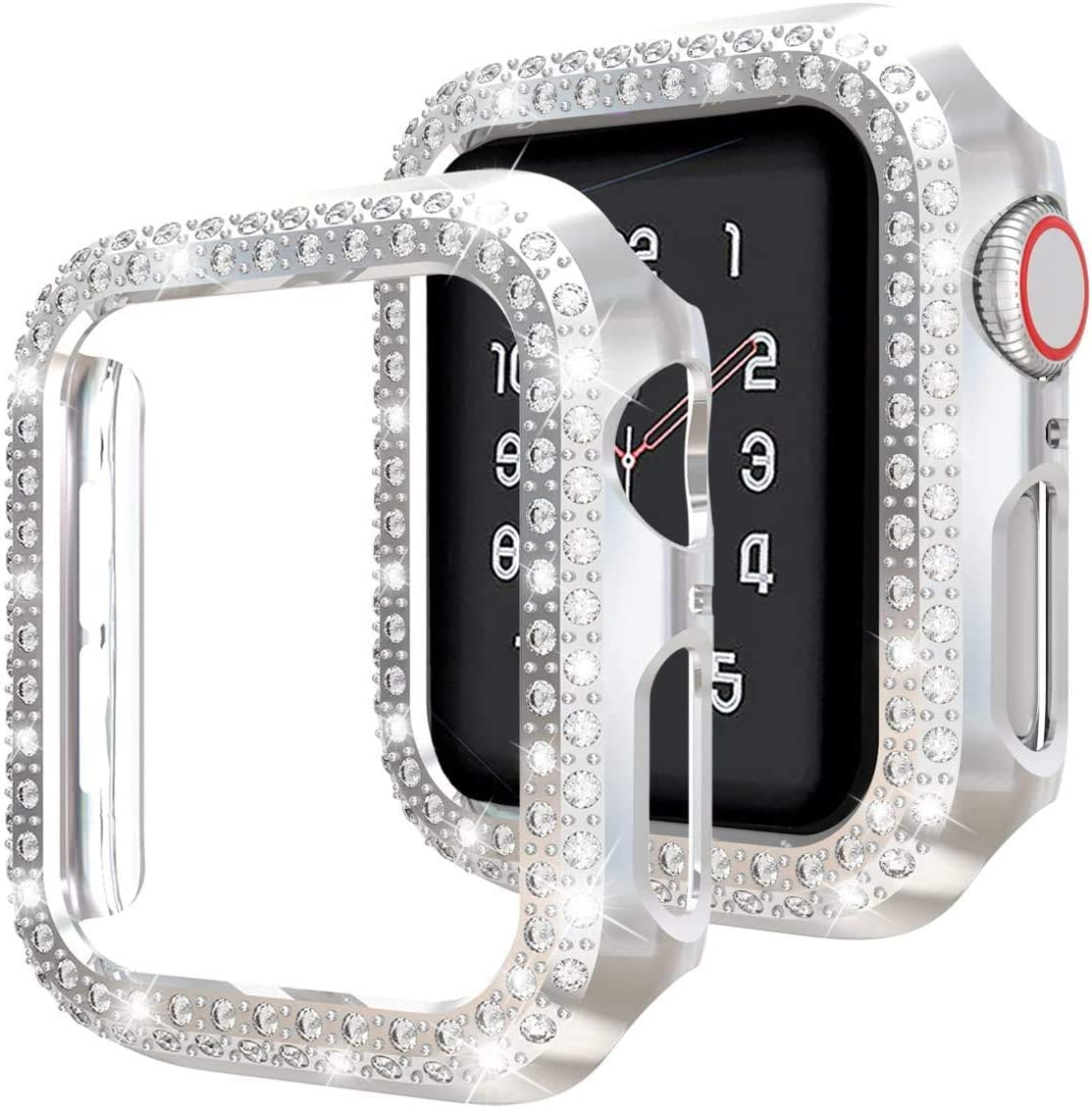 Hepsun Compatible with Apple Watch Case 40mm 44mm, Plastic Bumper Screen Protective Cover Women Glitter Diamond Crystal Rhinestone Shiny Frame Compatible iWatch SE Series 6/5/4/3/2/1 (Silver, 44mm)
