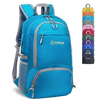 ZOMAKE 30L Ligera Mochila Plegable de Senderismo Excursión Deportes, Mochilas Pequeña Impermeable para Mujer Hombre Viaje (Azul Claro): Amazon.es: Deportes ...