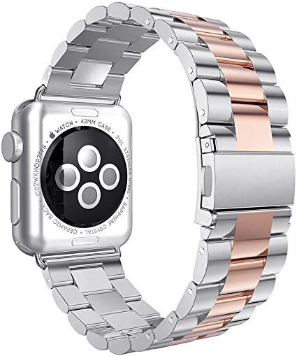 Correa para Apple Watch 42mm, Correa de Repuesto de Acero Inoxidable de 42mm Hebilla de Metal Hebilla Plegable Correa de muñeca para Apple Watch Series 3/2/1 Sport Edition de 42mm: Amazon.es: Instrumentos