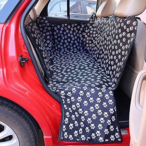 (MZjJPN Pet Carriers Fabric Paw Pattern Car Pet Seat Cover Dog Car Back Seat Carrier Waterproof Pet Mat Hammock Cushion Protector,Black Footprint,130x 150x 38cm)