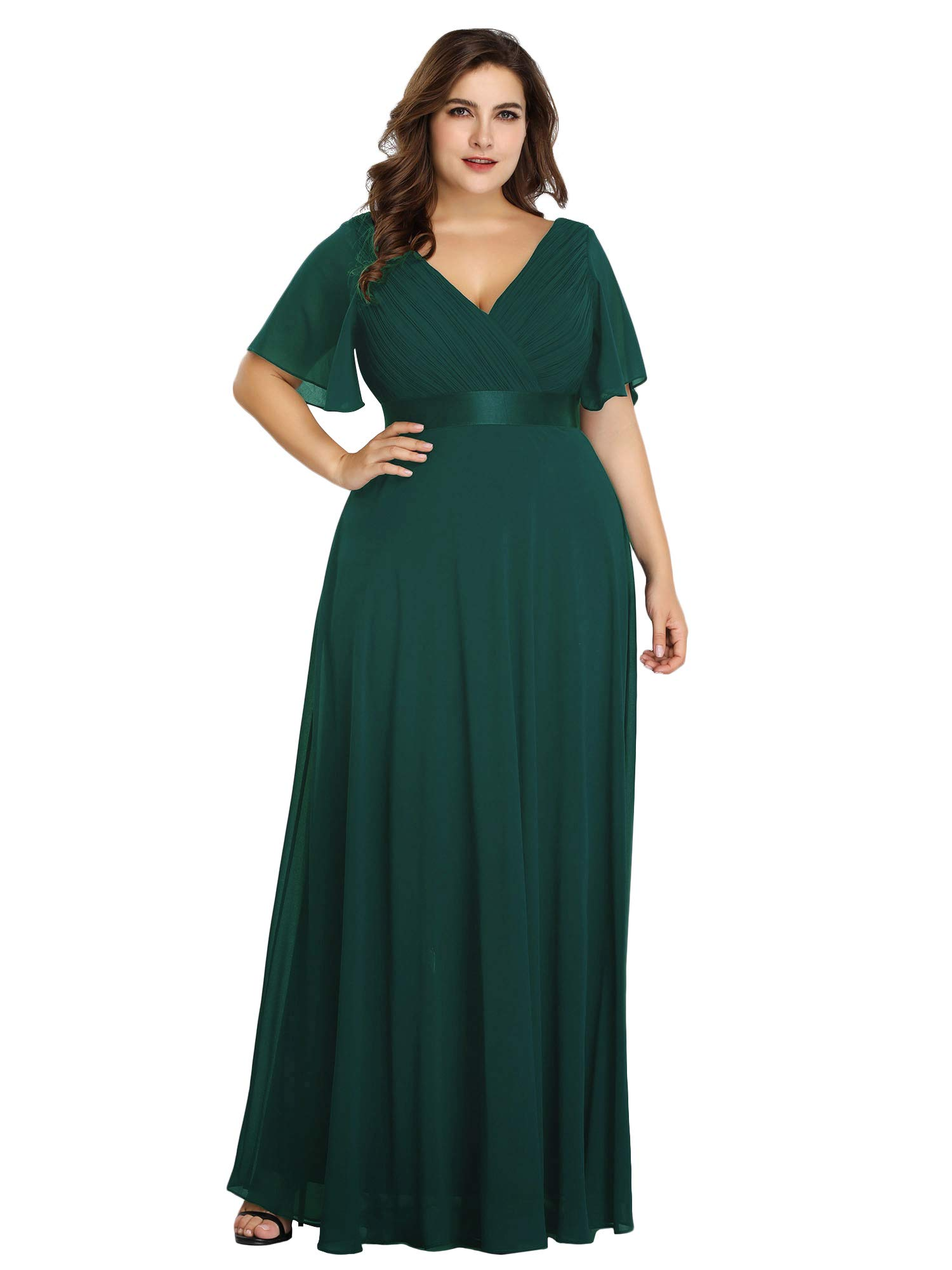 Alisapan Womens Chiffon Plus Size Long Formal Gowns Prom Evening Dresses  Green US18
