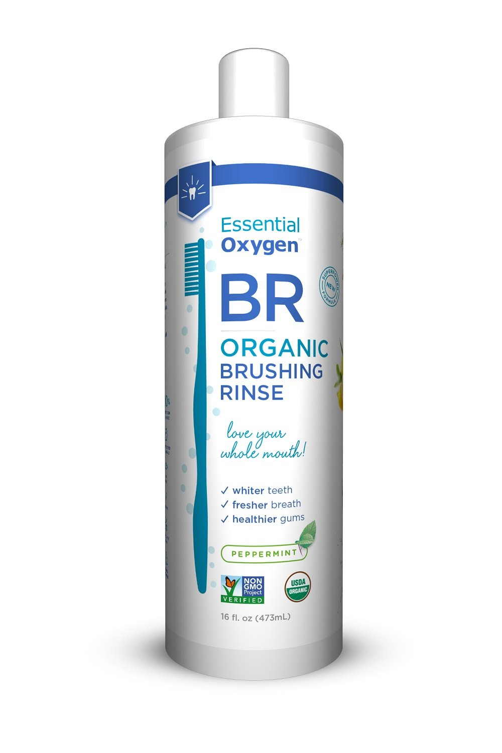Essential Oxygen Organic Brushing Rinse Toothpaste Mouthwash for Whiter Teeth, Fresher Breath, and Healthier Gums, Peppermint 16 fl. oz S0565820N