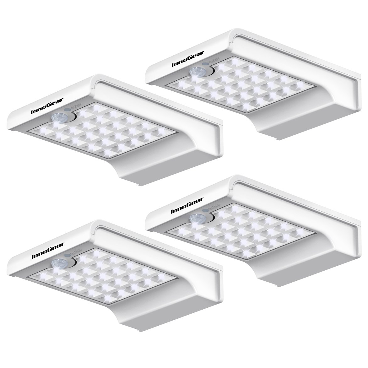 InnoGear 24 LED Solar Lights Motion Sensor Wall Light Auto On/Off and Dim to Bright Outdoor Security Light Night Light for Gutter Patio Garden Path, Pack of 4