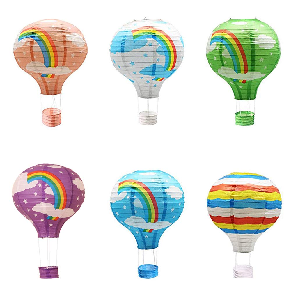 Sonnis Lanterna di carta,mongolfiera palloncini,aerostato di aria calda appesa a 12 * 16 pollici per decorazioni da party, 6 pezzi