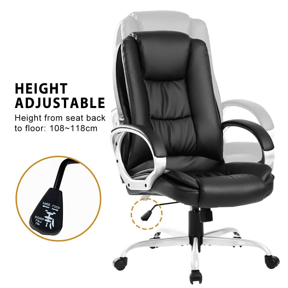 51 x 51 x 108 MIERES Executive Office Chair Large Computer Home Leather Swivel Adjustable High Back
