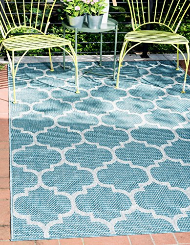 Unique Loom Outdoor Trellis Collection Casual Moroccan Lattice Transitional Indoor and Outdoor Flatweave Aquamarine Area Rug (7' 0 x 10' 0)
