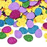 Skylety 480 Pieces Easter Foam Stickers Self Adhesive Animal Shape Decals Glitter Egg Stickers for Easter Crafts Scrapbooking Favors