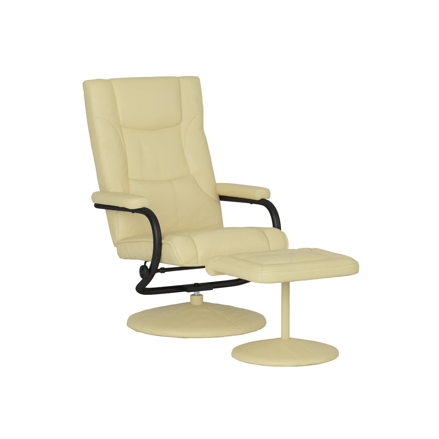 Flash Furniture Contemporary Multi-Position Recliner and Ottoman with Wrapped Base in Cream Leather by Flash Furniture