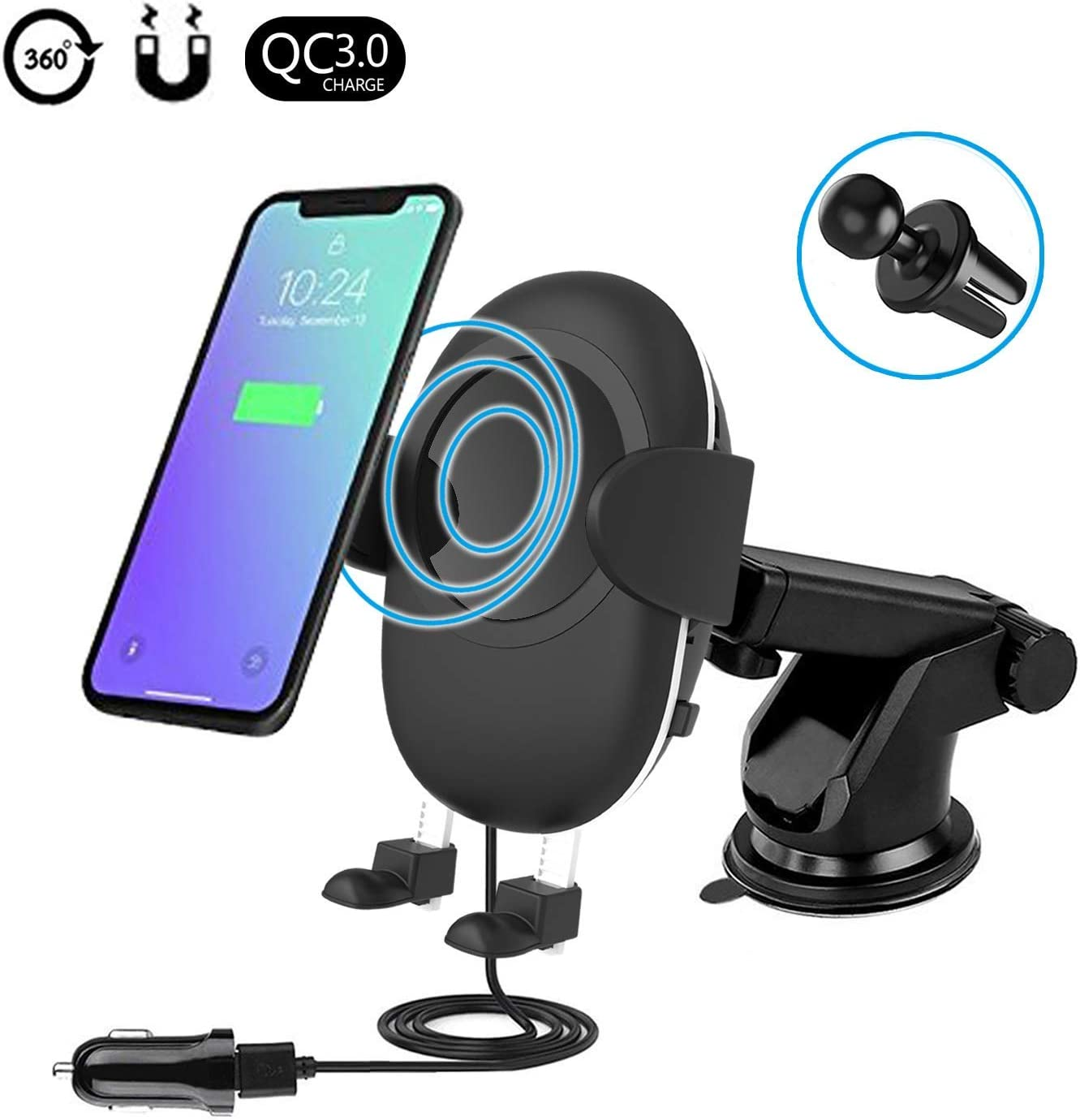 8//8 Plus Qi Enabled Devices Wireless Fast Car Charger Easy One Touch 2 in 1 Air Vent Mount Phone Holder Cradle for Samsung Galaxy S9 S9 Plus S8 /& Standard Charge for iPhone X