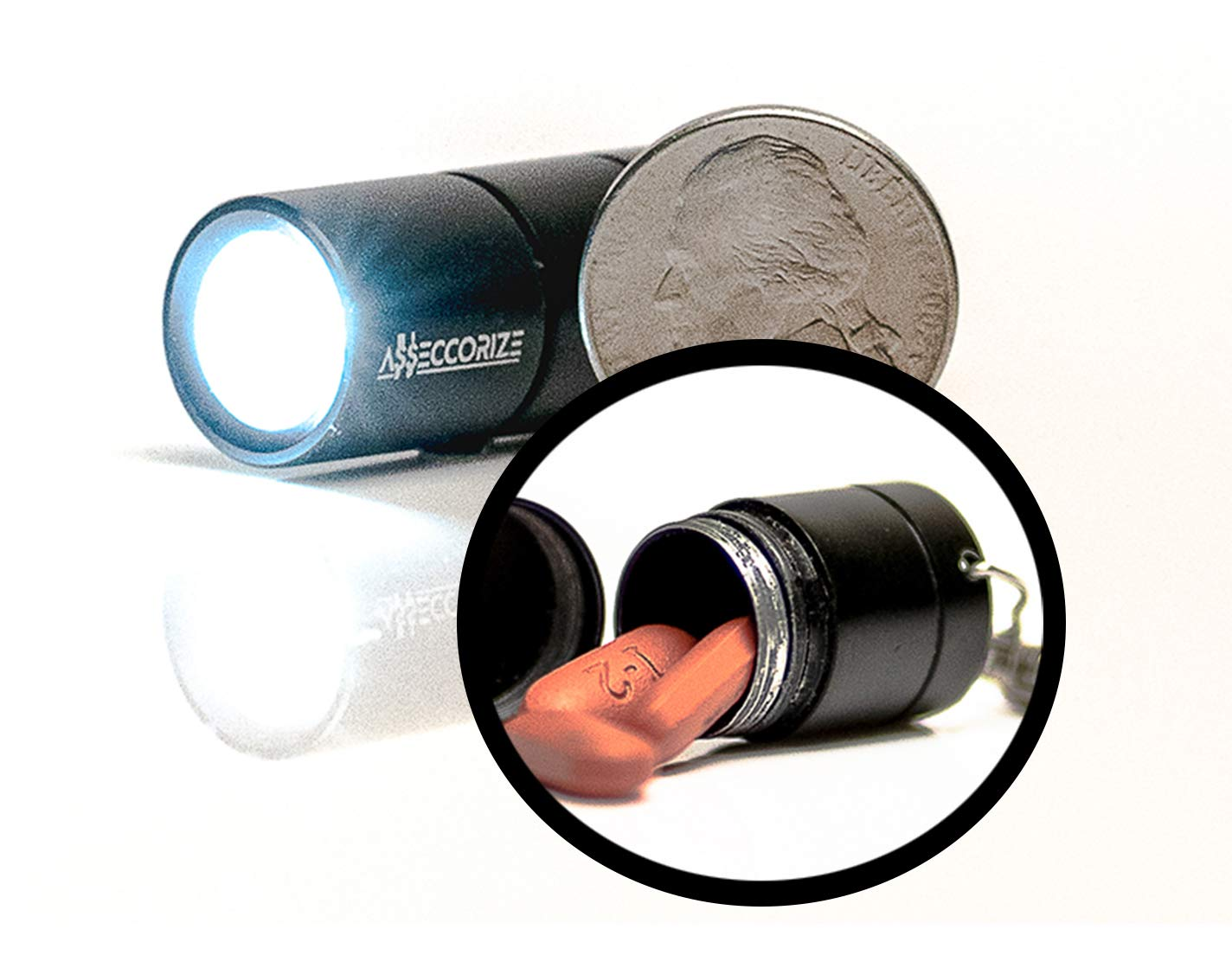 Premium Pill Holder Keychain Stash Box Disguised as Fully Functional Mini LED Flashlight with Secret Compartment