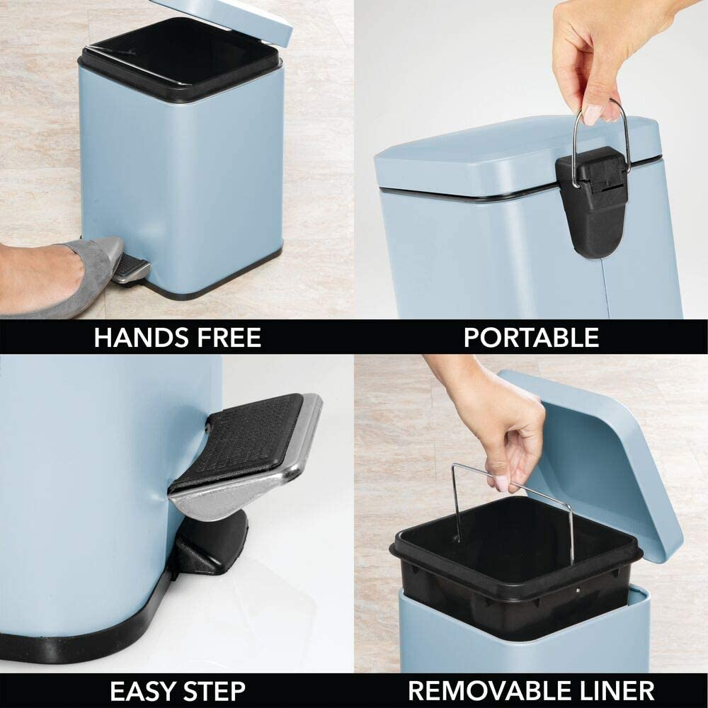 Garbage Container Bin for Bathroom Kitchen Matte Blue mDesign 1.5 Gallon quare Small Metal Step Trash Can Wastebasket Office Removable Liner Bucket Craft Room Powder Room Bedroom