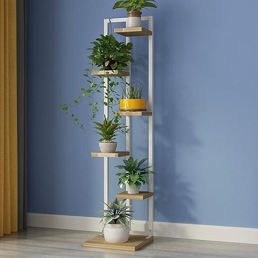 LIANGLIANG Estante para macetas, estante para plantas, escalera, soporte de exposición, plancha + tablero de partículas, balcón simple, sala de estar, interior, 4/5/6 niveles, 6 colores, 3 tamaños: Amazon.es: Jardín