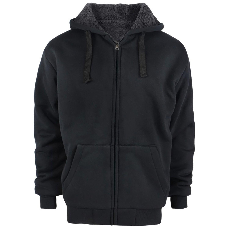 Gary Com Fleece Lined Hoodies for Men 1.8 lbs Full Zip Sherpa Plus Size Sweatshirt Mens Jackets Heavyweight Outwear (4XL, Black) by Gary Com (Image #5)
