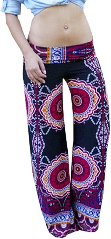 Baymate Mujer Vintage Harem Pantalón Verano Floral Ancho Pierna Palazzo Yoga Pantalones
