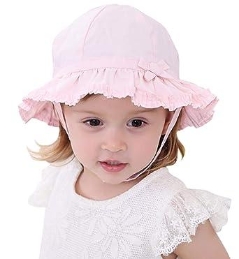 design intemporel 6203b 3a283 Lachi Chapeau de Soleil Bébé Fille Enfant d'été Anti-UV Chapeau de Plage  Nœud Papillon Coton Bonnet Kids Girls Beach Hat