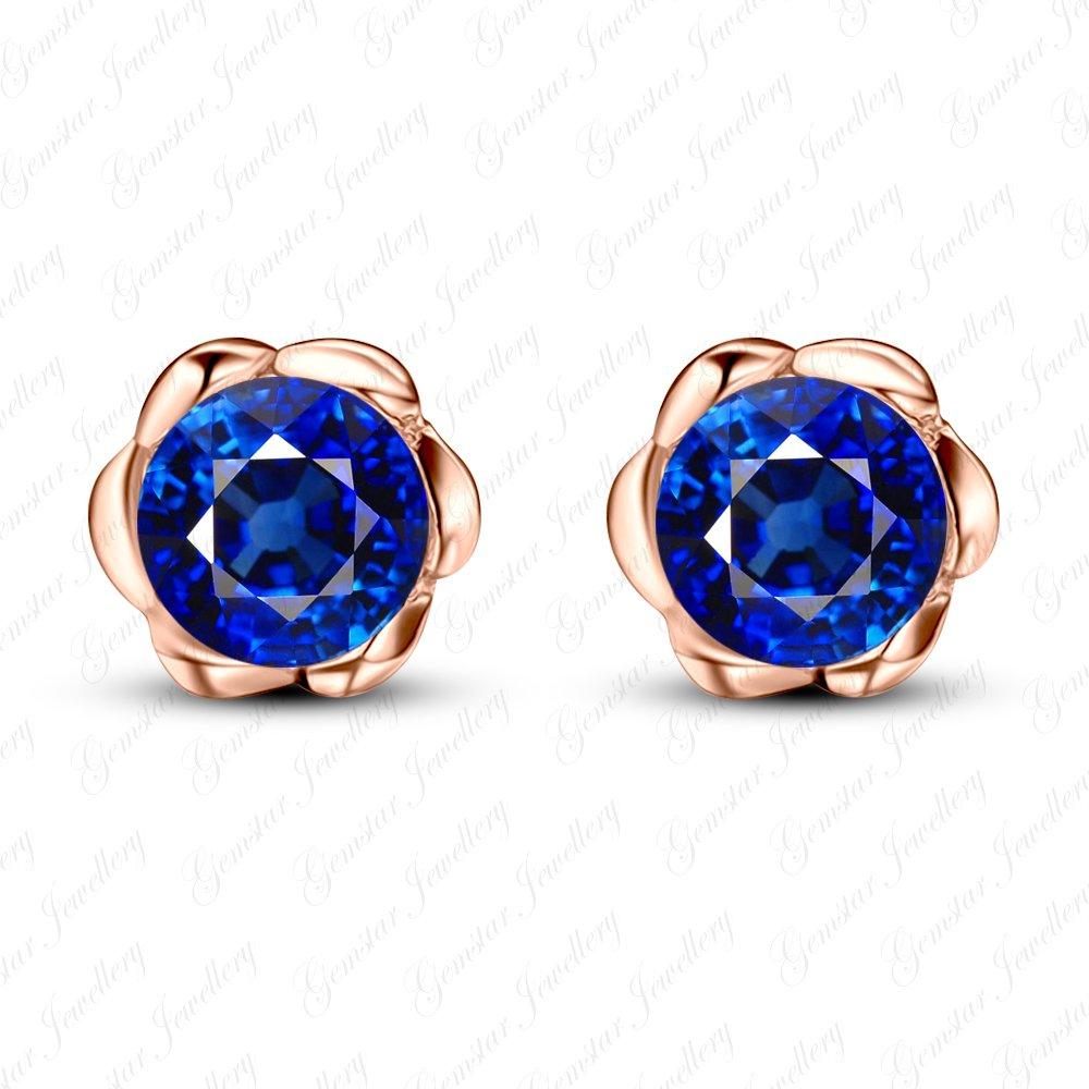 Gemstar Jewellery Blue Sapphire 18K Rose Gold Finishing Screw Back Flower Solitaire Stud Earrings