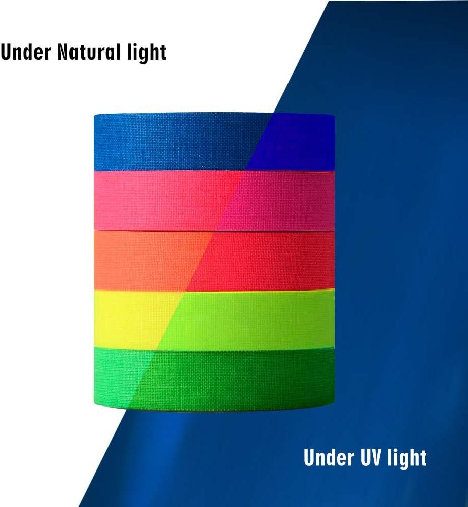 UV Party /& Familie Party alinsea 5 Farben fluoreszierendes neonfarbenes Gaffer-Tuch Tape UV Schwarzlicht Reactive Tape Ideal f/ür Neujahr Weihnachten 0,6 Zoll x 16,5 Fu/ß, 5 cm Durchmesser