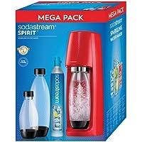 Sodastream - spirit mega pack rouge - Machine à gazéifier l'eau avec 1 cylindre et 3 bouteilles