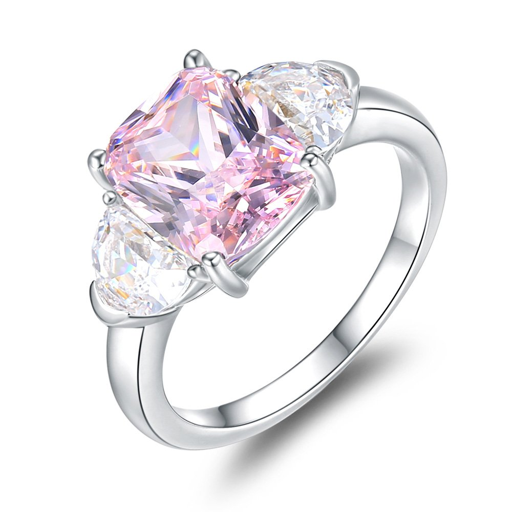 Mozume Women's 4ct Radiant Cut Pink Cubic Zirconia 925 Sterling Silver Ring Engagement Wedding Wing Style (6)