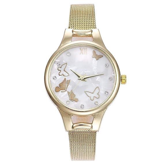 ZXMBIAO Reloj De Pulsera Moda Mujer Mariposa Patrón De Cuarzo Relojes Casual Damas Mujer Acero Inoxidable Relojes, Oro: Amazon.es: Relojes