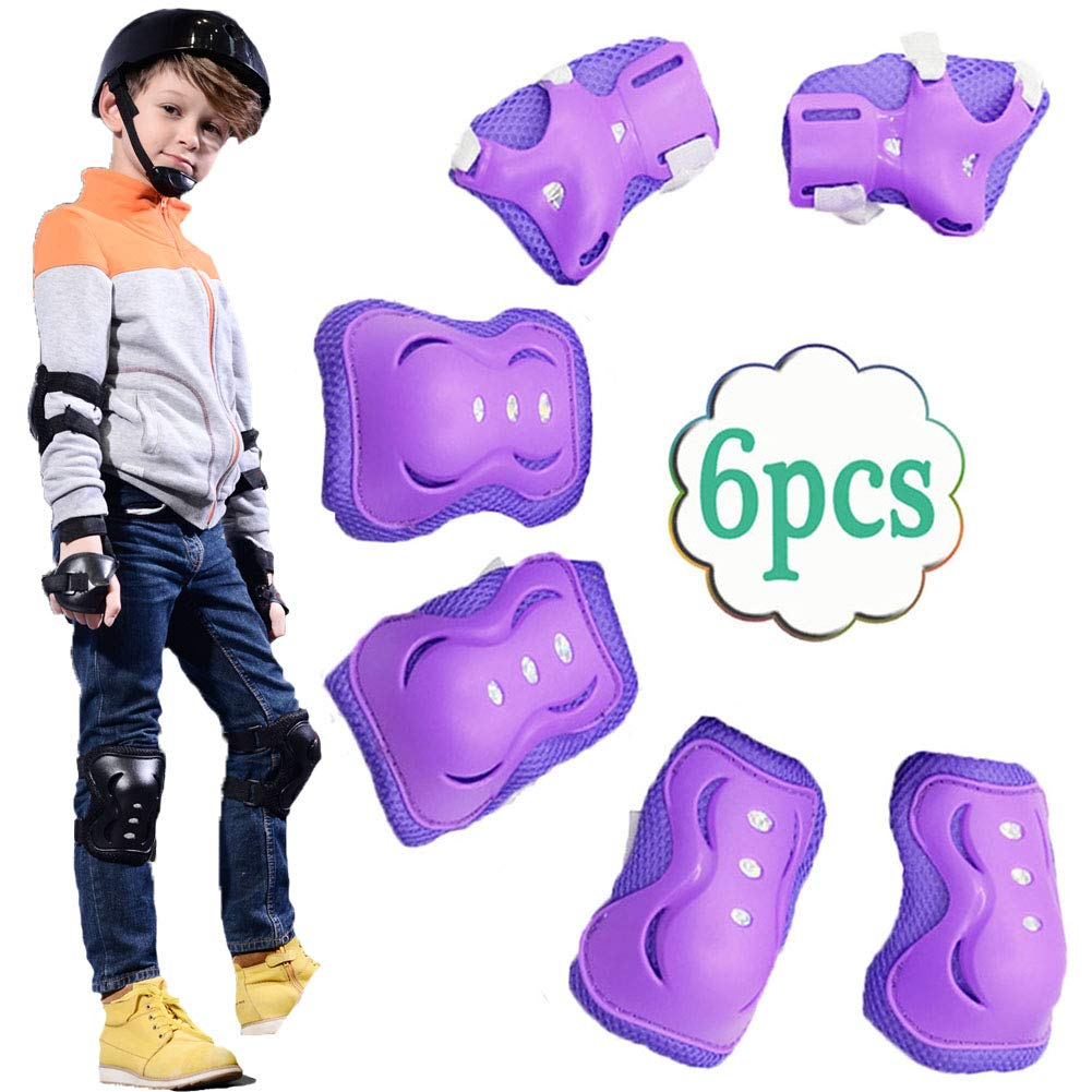 UOFEIVS Kid's Inline Skating Roller Blading Wrist Elbow Knee Pads Guards Protective Gear Set for Rollerblade Roller Skates Cycling BMX Bike Skateboard Inline Skatings Scooter Riding Sports (Purple) by UOFEIVS