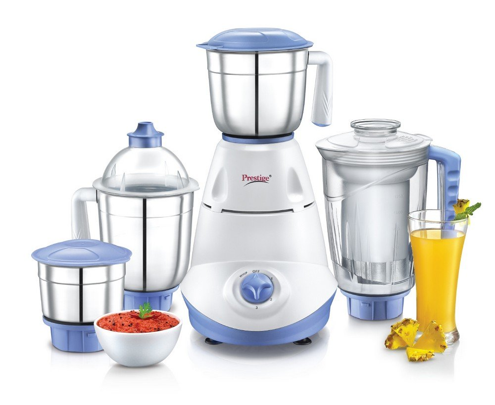 Prestige Iris 750-Watt 4 Jar Mixer Grinder with 3 Jars (White/Blue)