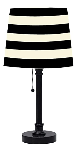 Black And White Table Lamp: Urban Shop Black and White Striped Table Lamp,Lighting